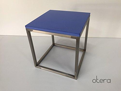 Beton & Edelstahl Beistelltisch / Couchtisch in blau | otera