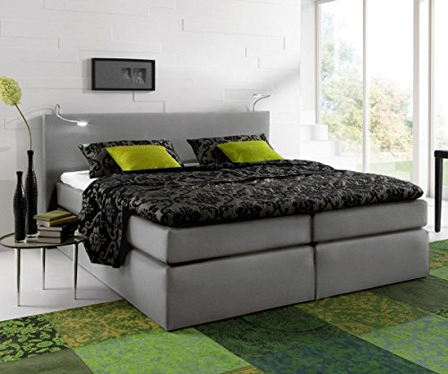 bett alan grau 180x200 bett mit matratze und topper boxspringbett m bel24. Black Bedroom Furniture Sets. Home Design Ideas