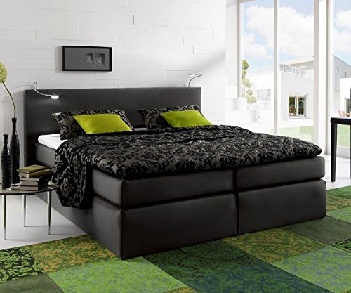 bett alan schwarz 180x200 mit matratze und topper boxspringbett m bel24. Black Bedroom Furniture Sets. Home Design Ideas