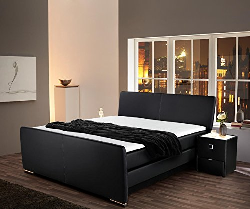 bett carmelina schwarz 180x200 cm mit matratze topper boxspringbett m bel24. Black Bedroom Furniture Sets. Home Design Ideas