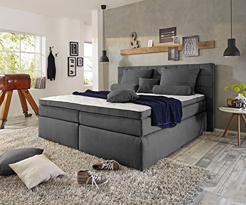 bett isobel anthrazit 180x200 cm matratze topper federkern boxspringbett m bel24. Black Bedroom Furniture Sets. Home Design Ideas