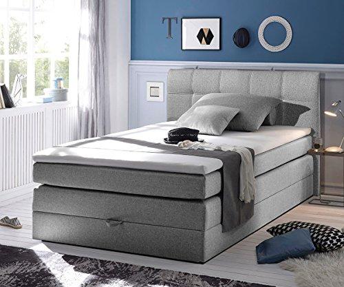 Bett Neptuno Grau 140x200 cm Matratze Topper Federkern Bettkasten Boxspringbett