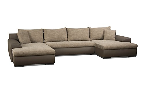 cavadore 5171 polsterecke u form bett wohnlandschaft ecksofa schaumstoff cappuccino elefant. Black Bedroom Furniture Sets. Home Design Ideas