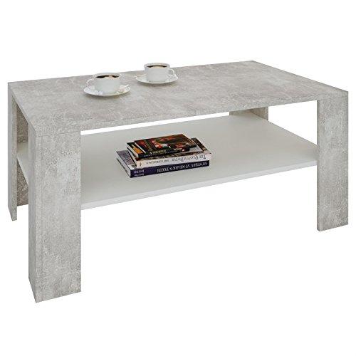 couchtisch wohnzimmertisch animo in beton optik wei mit ablage 100 x 60 cm m bel24. Black Bedroom Furniture Sets. Home Design Ideas