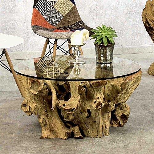Design Couchtisch aus Teak Wurzel mit runder Glasplatte Pharao24