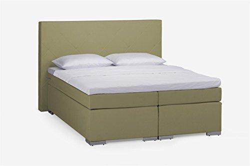 Dico Boxspringbett Delta BS9050 H2 / H2 140 cm x 200 cm Lederoptik beige Topper Kaltschaum
