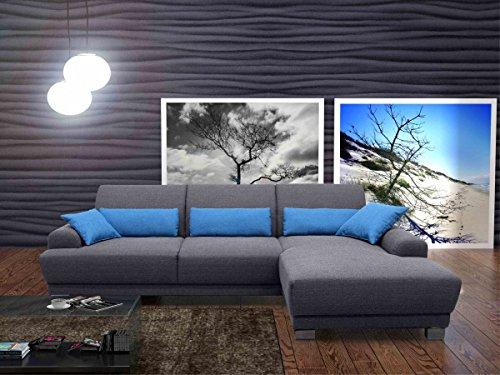 Dreams4Home Boxspring Sofa Luca, Polsterecke Ecksofa Couch Rückenfunktion Loungesofa Wohnlandschaft, grau