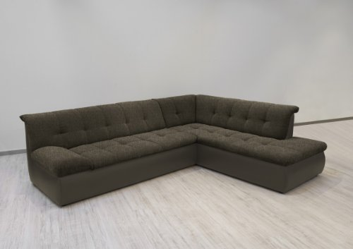 Dreams4Home Polsterecke Aulis I. Sofa Ecksofa Couch wahlweise mit Schlaffunktion cappuciono/braun