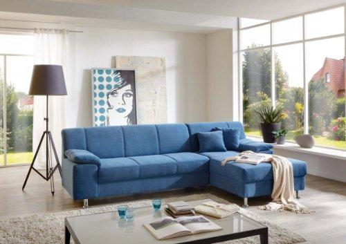 Dreams4Home Polsterecke Laguna Ecksofa Couch Sofa Wohnzimmer Polstergarnitur inkl. Kissen blau