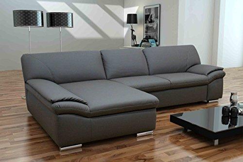 Dreams4Home Polsterecke Mike, Sofa Ecksofa Couch wahlw. Schlaffunktion Kunstleder Wohnlandschaft, grau/braun