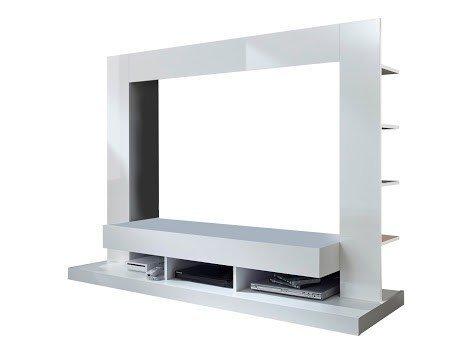 Dreams4Home Wohnkombination 'Florenz', Wohnwand, Anbauwand, Schrankwand, Kombination, Wohnzimmerschrank, Wohnzimmer, (B/H/T) ca. 164 x 124 x 46 cm, in weiß / weiß Hochglanz