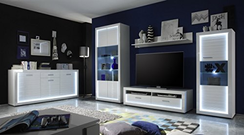 Dreams4Home Wohnkombination 'Marlay VII', Kommode Sideboard Schrank Vitrine TV-Schrank Wohnwand Wohnelement Wohnzimmer Hochglanz weiß Beleuchtung inkl.
