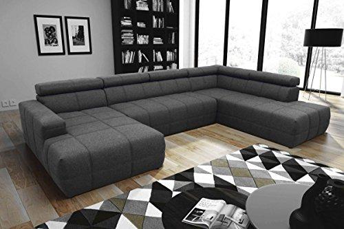 Dreams4Home Wohnlandschaft 'Boris' - Sofa, Couch, Sofaecke, Polsterecke, Recamiere, Ottomane, wahlweise mit Sitzverbreiterung, Wohnzimmer, Wellenunterfederung, Holzuntergestell, in dunkel grau