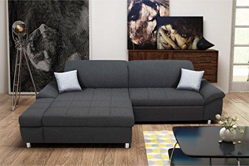 Dreams4Home Wohnlandschaft 'Veith' - Sofa, Couch, Sofaecke, Polsterecke, Recamiere, Webware Bezug, wahlweise mit Bettfunktion + Bettkasten, Wohnzimmer, Wellenunterfederung, Holzuntergestell, in schlamm oder anthrazit