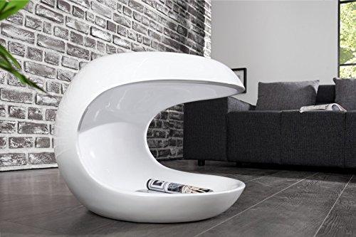 DuNord Design Beistelltisch Couchtisch TORSION weiss hochglanz Glasfaser Retro Design Tisch