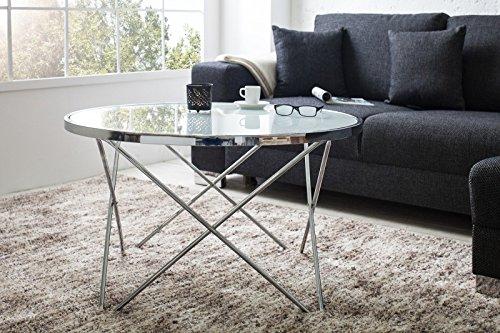 DuNord Design Couchtisch Beistelltisch PARIS 85cm Art Deco Design Glas chrom/weiss Retro Tisch