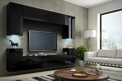 FUTURE 1 Moderne Wohnwand, Exklusive Mediamöbel, TV-Schrank, Schrankwand, TV-Element Anbauwand, Neue Garnitur, Große Farbauswahl (RGB LED-Beleuchtung Verfügbar)