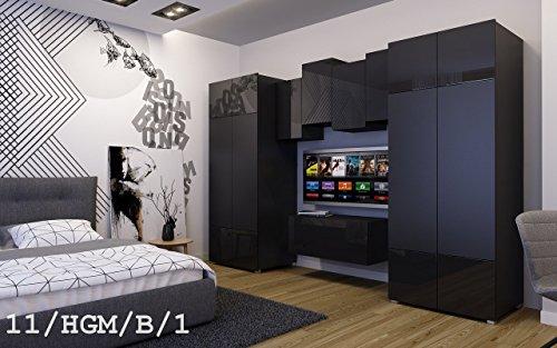 FUTURE 11 Wohnwand Anbauwand Wand Schrank TV-Schrank Möbel Zimmer Hochglanz Matt Schwarz Weiß Sonoma LED RGB Beleuchtung