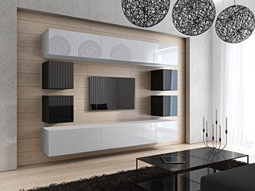 FUTURE 17 Moderne Wohnwand, Exklusive Mediamöbel, TV-Schrank, Neue Garnitur, Große Farbauswahl (Weiß MAT base / Weiß MAT front)