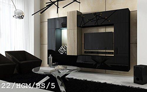 FUTURE 22 Wohnwand Anbauwand Wand Schrank Wohnzimmer Wohnzimmerschrank Hochglanz-Matt Weiß-Sonoma Schwarz-Sonoma LED RGB Beleuchtung