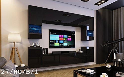 FUTURE 27 Wohnwand Anbauwand Wand Schrank TV-Schrank Wohnzimmer Wohnzimmerschrank Hochglanz Weiß Schwarz LED RGB Beleuchtung