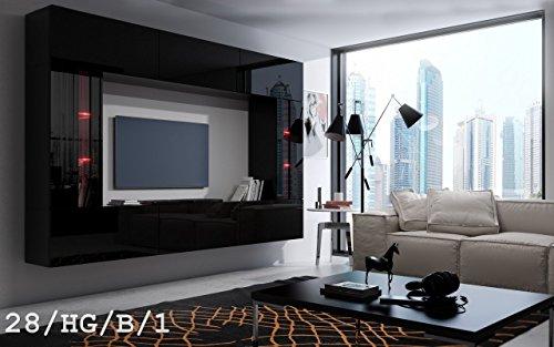 FUTURE 28 Moderne Wohnwand, Exklusive Mediamöbel, TV-Schrank, Schrankwand, TV-Element Anbauwand, Neue Garnitur, Große Farbauswahl (RGB LED-Beleuchtung Verfügbar)