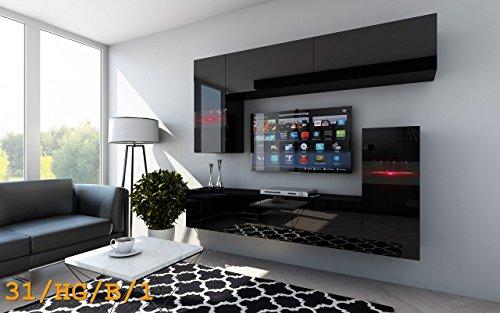 FUTURE 31 Wohnwand Anbauwand TV-Schrank Möbel Wohnzimmer Wohnzimmerschrank Wand Schrank Hochglanz Weiß Schwarz LED RGB Beleuchtung