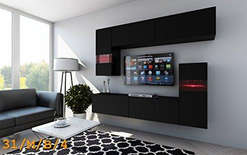 FUTURE 31 Wohnwand Anbauwand Wohnzimmer TV-Schrank Möbel Wohnzimmerschrank LED RGB Beleuchtung Matt Weiß Schwarz