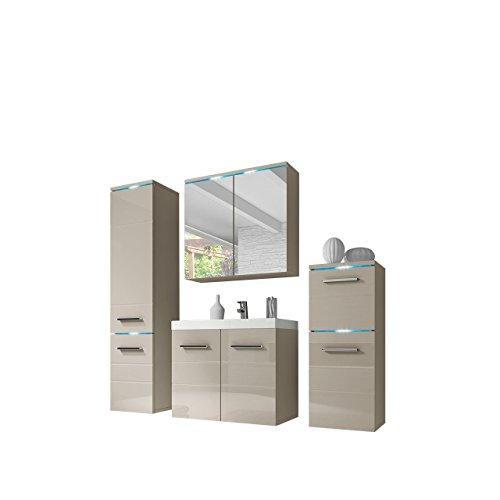 Modernes Badmöbel Set Savana I mit Waschbecken und Siphon, Badezimmer, Hochschrank, Waschtisch, Spiegelschrank Möbel Waschplatz
