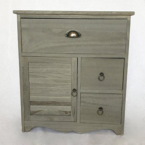 Nachtkommode grau, Nachtschrank, Nachttisch, Nachtschränkchen Beistelltisch Holz