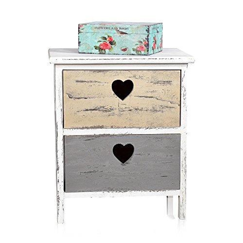 Nachtschrank Shabby Look 2 Schubladen mit Herz Deko weiß grau beige Nachtkommode
