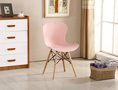 P & N Homewares® Alessia Eiffel Stuhl aus Kunststoff Gerippter DSW Retro Weiß Schwarz Grau Rot Gelb Pink Grün Blau