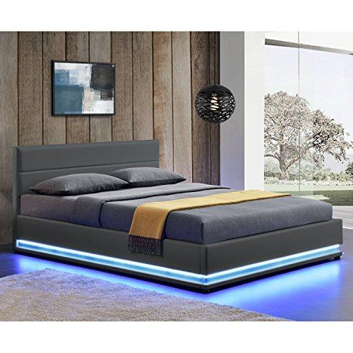 Polsterbett Toulouse mit rundum LED und Bettkasten in 2 Größen und 3 Farben