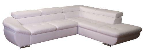 Polsterecke Astra/3er Bett mit Kopfteilverstellung-Ottomane mit Kopfteilverstellung/273x68-84x229 cm/Kunstleder Bison pure white