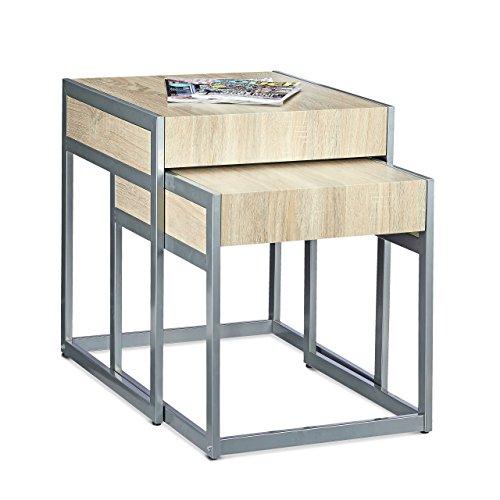 Relaxdays Beistelltische 2-er Set HBT 57 x 48 x 51 cm Couchtisch aus Holz und Metall für Sofatisch und Kaffeetisch als platzsparender moderner Satztisch auch als Nachttisch und Teetisch, natur, grau