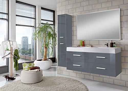 SAM® 3tlg. Badmöbel-Set Hamburg, 120 cm, Designer-Badset mit Doppelwaschplatz mit Softclose-Funktion, in 3 verschiedenen Farben mit Spiegel