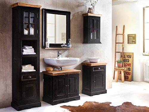 SAM® 5tlg. Design Badmöbel-Set Corsica, aus Mangoholz & MDF, schwarz mit honigfarbenen Platten, Bad-Set bestehend aus je einem Unterschrank, Spiegel, Hochschrank, Kommode, Hängeschrank