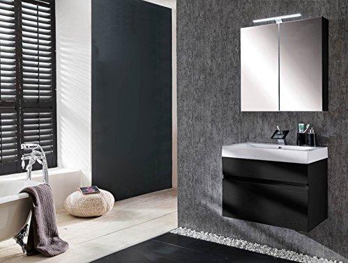 SAM® Badmöbel-Set 2-tlg, Parma, Hochglanz schwarz, Softclose Badezimmermöbel, Waschplatz 70 cm Mineralgussbecken, Spiegelschrank