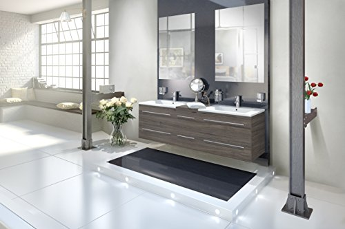 SAM® Badmöbel-Set 3-tlg, Barcelona, Trüffeleiche, Softclose Badezimmermöbel, Doppelwaschplatz 150 cm Mineralgussbecken, zwei Spiegel