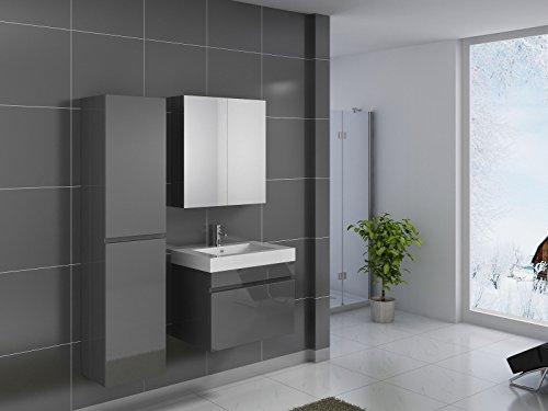 SAM® Badmöbel-Set 3-tlg, Parma, Hochglanz grau, Softclose Badezimmermöbel, Waschplatz 70 cm Mineralgussbecken, Spiegelschrank, Hochschrank