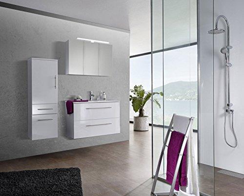 SAM® Badmöbel-Set 3-tlg, Verena, Hochglanz weiß, Softclose Badezimmermöbel, Waschplatz 90 cm Keramikbecken weiß, Spiegelschrank, Hochschrank