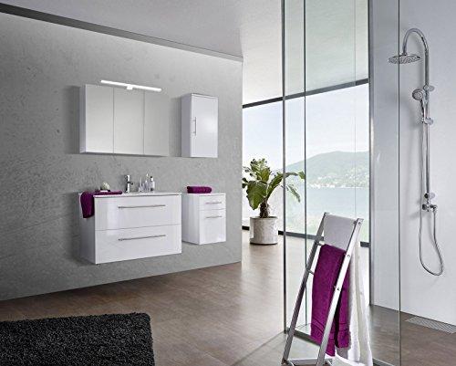 SAM® Badmöbel-Set 4-tlg, Verena, Hochglanz weiß, Softclose Badezimmermöbel, Waschplatz 90 cm Keramikbecken weiß, Spiegelschrank, Hängeschrank, Unterschrank