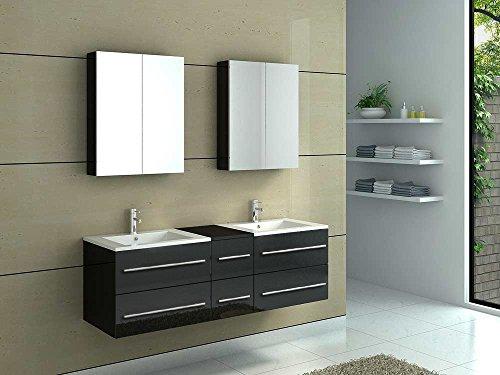 SAM® Badmöbel-Set 5-tlg, Barca, Hochglanz schwarz, Softclose Badezimmermöbel, zwei Waschplätze, zwei Spiegelschränke, Unterschrank