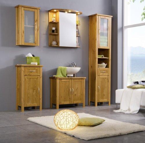 SAM® Badmöbel-Set 5-tlg, Kiefernholz honigfarben lackiert, Badezimmermöbel, Waschplatz, Spiegelschrank, Hochschrank, Hängeschrank, Unterschrank
