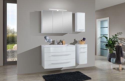 SAM® Badmöbel-Set Genf 4tlg, in weiß, 100 cm, Mineralgussbecken, Softclose-Funktion, bestehend aus 1 x Spiegelschrank, 1 x Waschplatz, 1 x Hängeschrank, 1 x Unterschrank