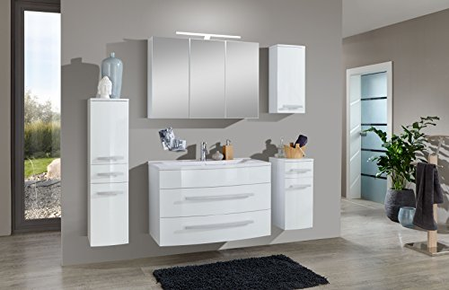 SAM® Badmöbel-Set Genf 5tlg, in weiß, 100 cm, Mineralgussbecken, Softclose-Funktion, bestehend aus 1 x Spiegelschrank, 1 x Waschplatz, 1 x Hängeschrank, 1 x Unterschrank, 1 x Hochschrank