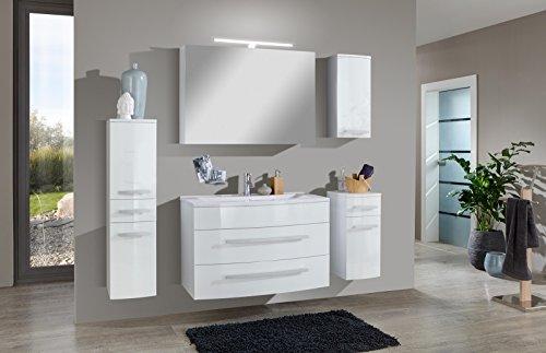 SAM® Badmöbel-Set Genf Deluxe 5tlg, in weiß, 100 cm, Mineralgussbecken, Softclose-Funktion, bestehend aus 1 x Spiegelschrank, 1 x Waschplatz, 1 x Hängeschrank, 1 x Unterschrank, 1 x Hochschrank