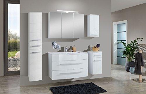 sam badm bel set genf xl 5tlg in wei 100 cm breite mineralgussbecken softclose funktion. Black Bedroom Furniture Sets. Home Design Ideas