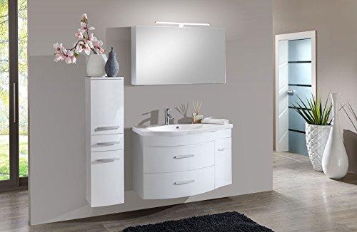 SAM® Badmöbel-Set Lugano Deluxe 3tlg, in weiß, 110 cm Breite, Mineralgussbecken, Softclose-Funktion, Set aus 1 x Spiegelschrank, 1 x Waschplatz, 1 x Hochschrank