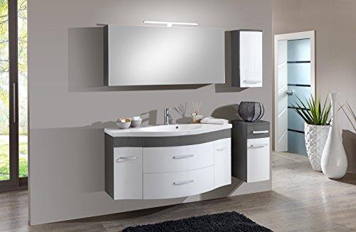 SAM® Badmöbel-Set Lugano Deluxe 4tlg, in weiß-grau, 130 cm, Mineralgussbecken, Softclose-Funktion, Set aus 1 x Spiegelschrank, 1 x Waschplatz, 1 x Hängeschrank, 1 x Unterschrank